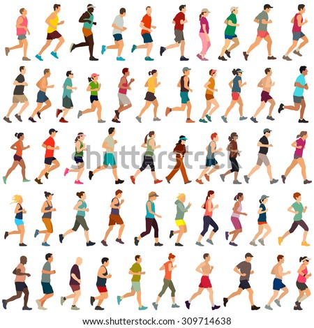 Vector runners - stock vector
