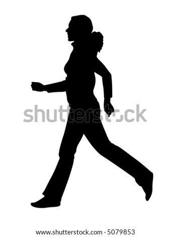 vector running girl - stock vector