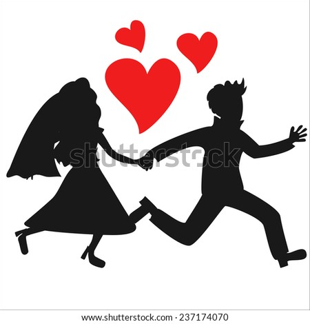 Vector running holding hands just married couple silhouettes with hearts - stock vector