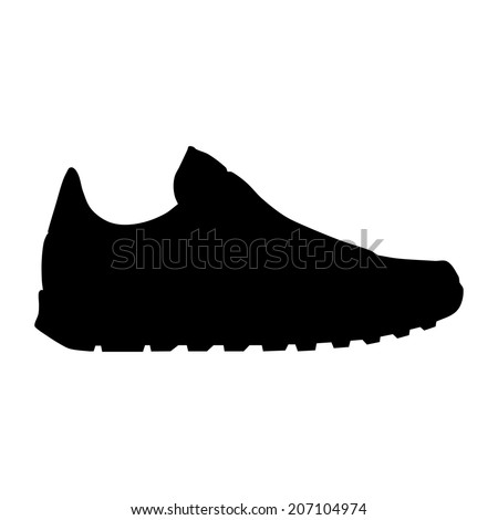 Vector running shoe - sneaker silhouette - stock vector
