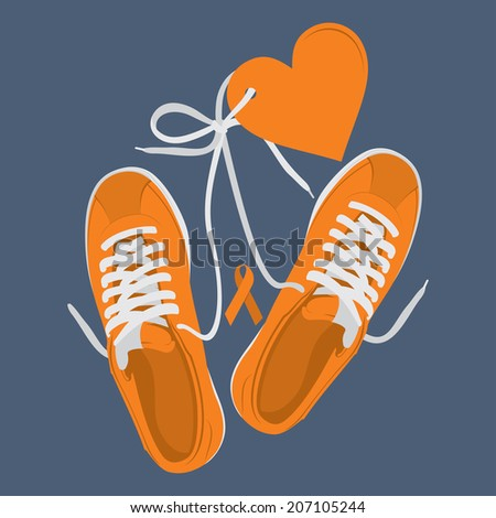 Vector running shoes - sneakers run for the cure - stock vector