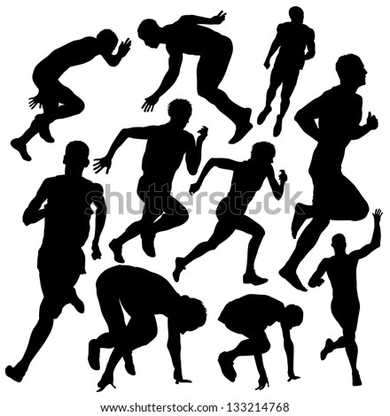 Vector running silhouette - stock vector