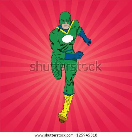 Vector running superhero - stock vector