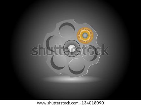 Vector russian roulette concept isolated on white background - stock vector