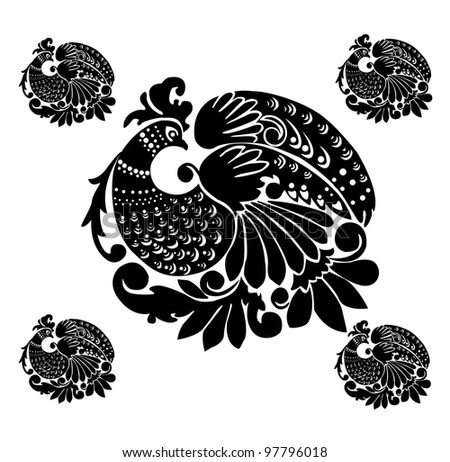 "Vector. Russian traditional ornament ""Hohloma"""