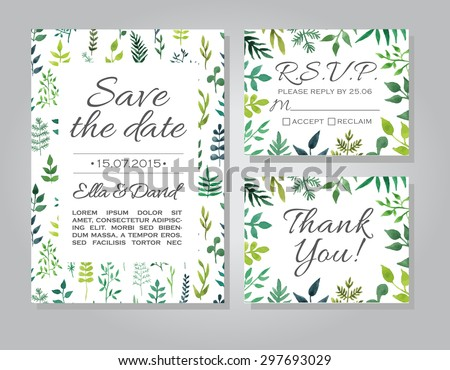 Vector rustic wedding invitation card set stock vector hd royalty vector rustic wedding invitation card set with floral watercolor background template wedding invitation or announcements stopboris Image collections