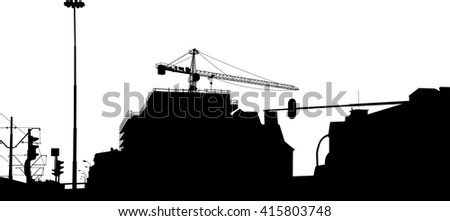 Vector's silhouette of cranes on building - stock vector