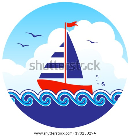 vector sailboat floating on the sea in round isolated on white background