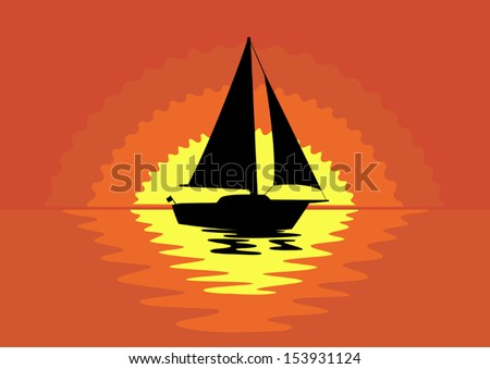 Vector sailboat silhouette at  sunset  - stock vector