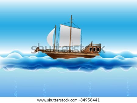 Vector Sailing Boat - stock vector