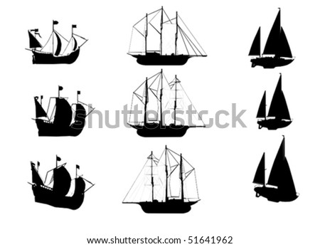 vector sailing ships - stock vector