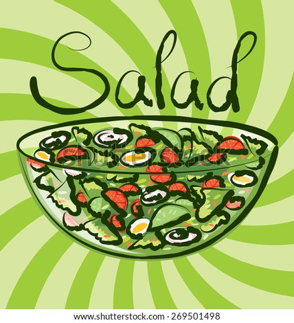 vector salad with calligraphic inscription - stock vector