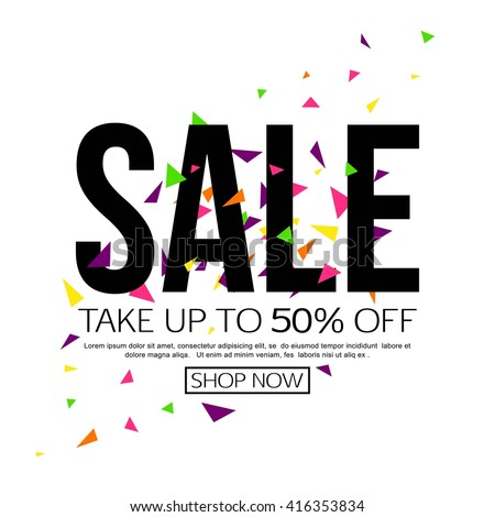 Vector sale background, banner template - take up to 50% off. Shop now. - stock vector