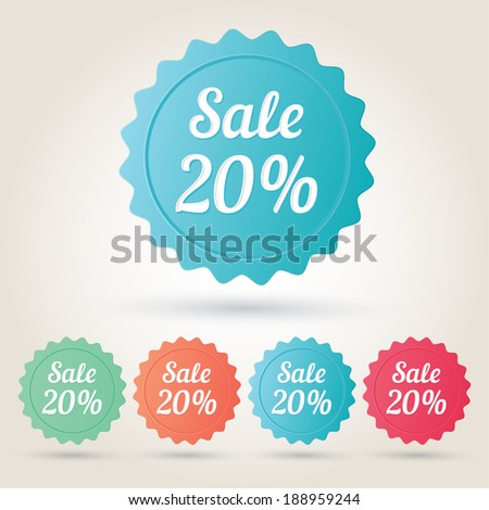 Vector sale 20% badge sticker - stock vector