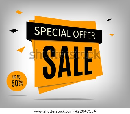 Vector sale banner. Sale poster on a abstract gray background. Sale tag. Special offer banner. Sale poster. Discount vector. Discount label. Discount coupon. Discount tag. Promotion poster. - stock vector