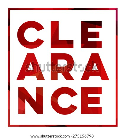 vector  Sale design,large sign in red letters Clearance isolated on a white background - stock vector
