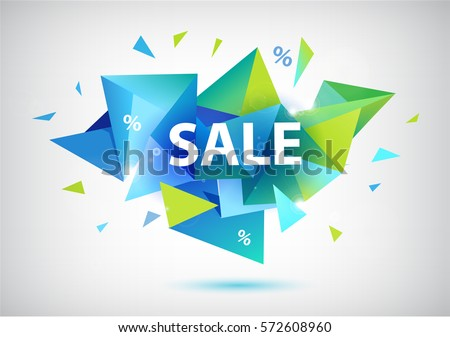 Vector sale faceted 3d banner, poster. Colorful illustration