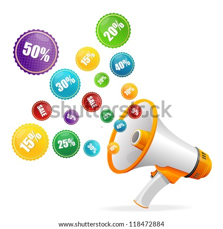 Vector sale labels and megaphone - stock vector