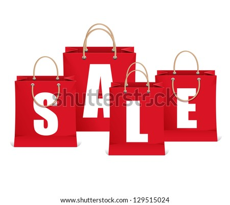 Vector sale labels like shopping bag - stock vector