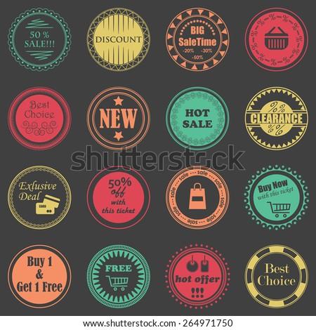 Vector sale labels. Set of shop stamps       - stock vector