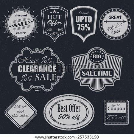 Vector sale labels. Vintage style. Set of labels            - stock vector