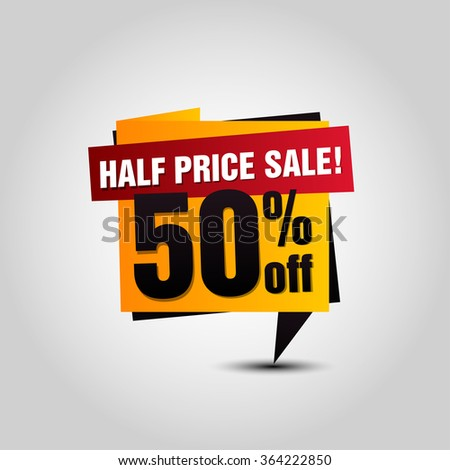 Vector Sale paper banner. Sale background. Half price sale. Sale tag. Sale poster. Special offer. 50% off for your design - stock vector
