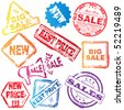 Vector sale stamp set - stock vector