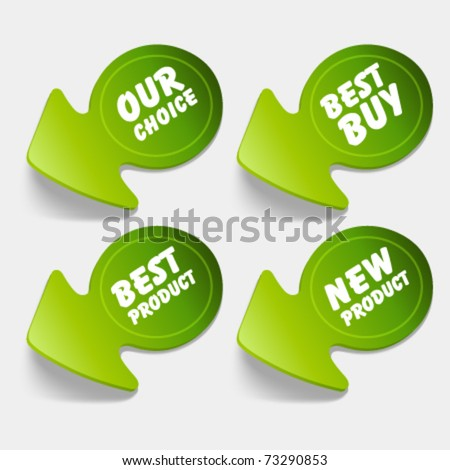 Vector sale stickers set. Transparent shadow easy replace background and edit colors. - stock vector