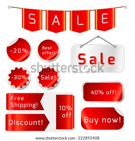 Vector Sale Tags isolated On White Background. Vector Illustration  - stock vector
