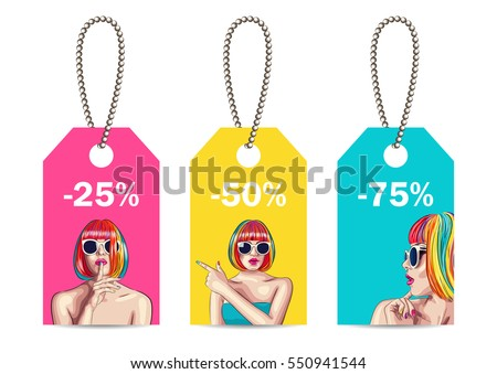 vector sale tags with woman wearing colorful wig. EPS