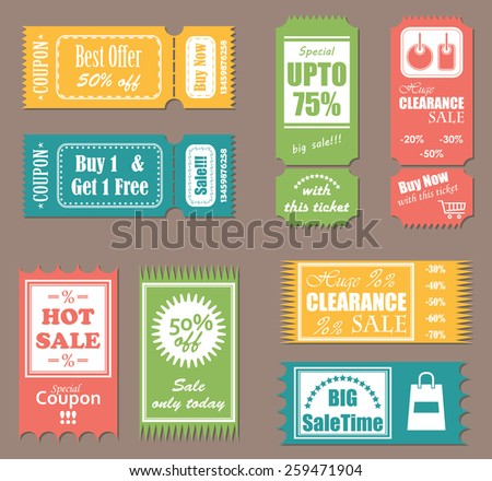 Vector sale tickets. Set of labels, coupons and tickets. Bright colors                  - stock vector