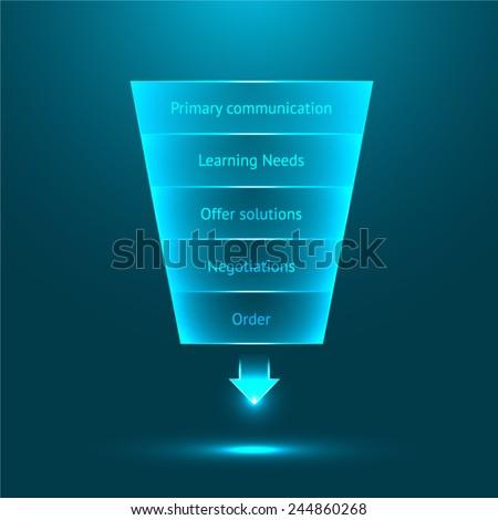 Vector sales funnel - stock vector