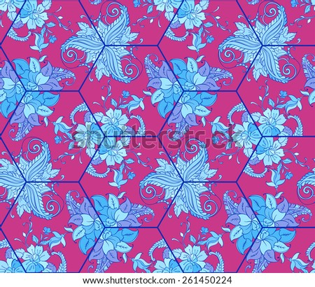 Vector sample floral background of kaleidoscope. Tile with floral ornament  - stock vector