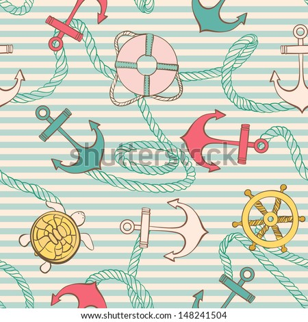 Vector Sample of Textile with Marine elements - stock vector