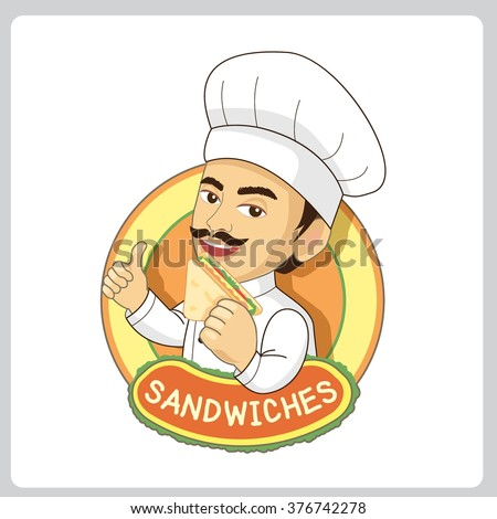 Vector sandwiches logo for restaurant and bakery shop.The chef man eating sandwich. - stock vector