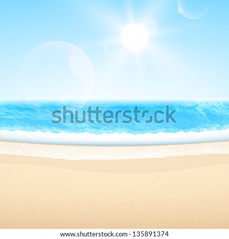 Vector sandy sea beach. Summer relax set.