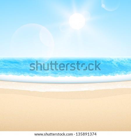 Vector sandy sea beach. Summer relax set. - stock vector