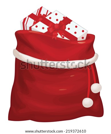 Vector Santa Claus bag with gifts isolated. - stock vector