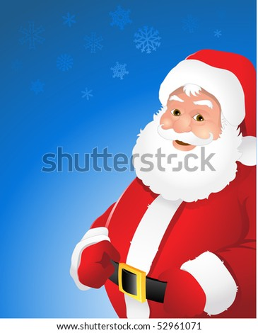 Vector Santa Claus blue Christmas background