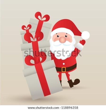 Vector Santa Claus wave. Vector illustration for retro christmas card. - stock vector