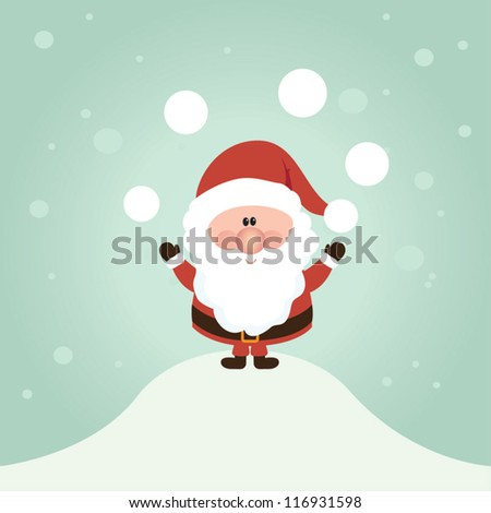 Vector Santa Claus wave.  Vector illustration for retro christmas card. Snow landscape background. - stock vector