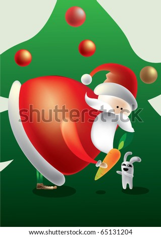 vector santa claus with little rabbit
