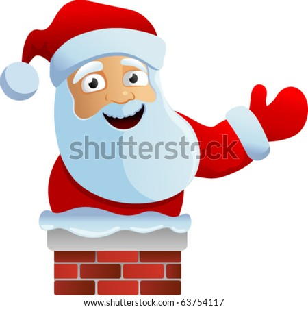 vector santa in the chimney