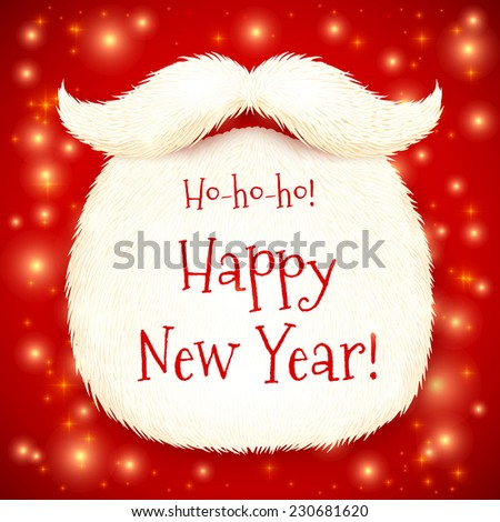 Vector Santa's beard with Happy New Year sign on red shining background - stock vector