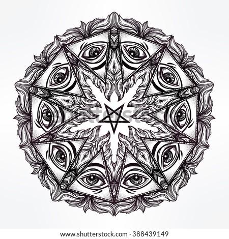 Vector Satanic Mandala Symbol Tattoo Design Stock Vector 2018