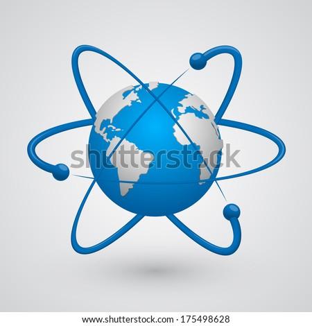 Vector. satellites around the earth - stock vector