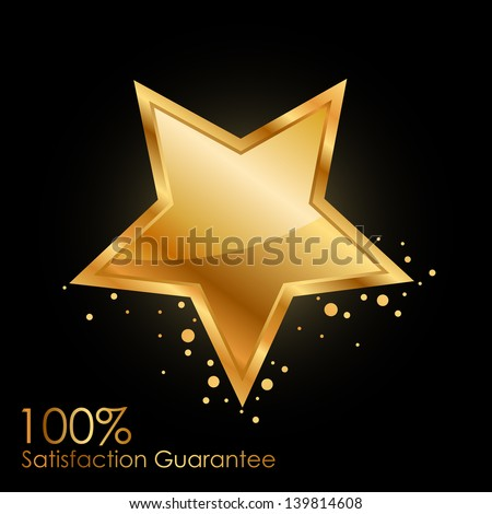 Vector 100% satisfaction guarantee background with gold star - stock vector