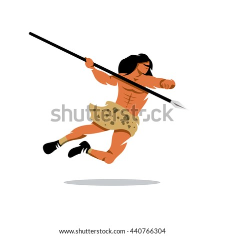 Vector Savage Cartoon Illustration. Warrior jumps with a spear. Unusual Logo template isolated on a white background