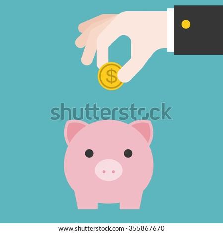 Vector save money in piggy bank, flat design - stock vector