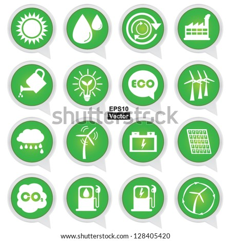Vector : Save The Earth or Ecology Concept Present By Circle Green Ecology Icons Set Isolated on White Background - stock vector